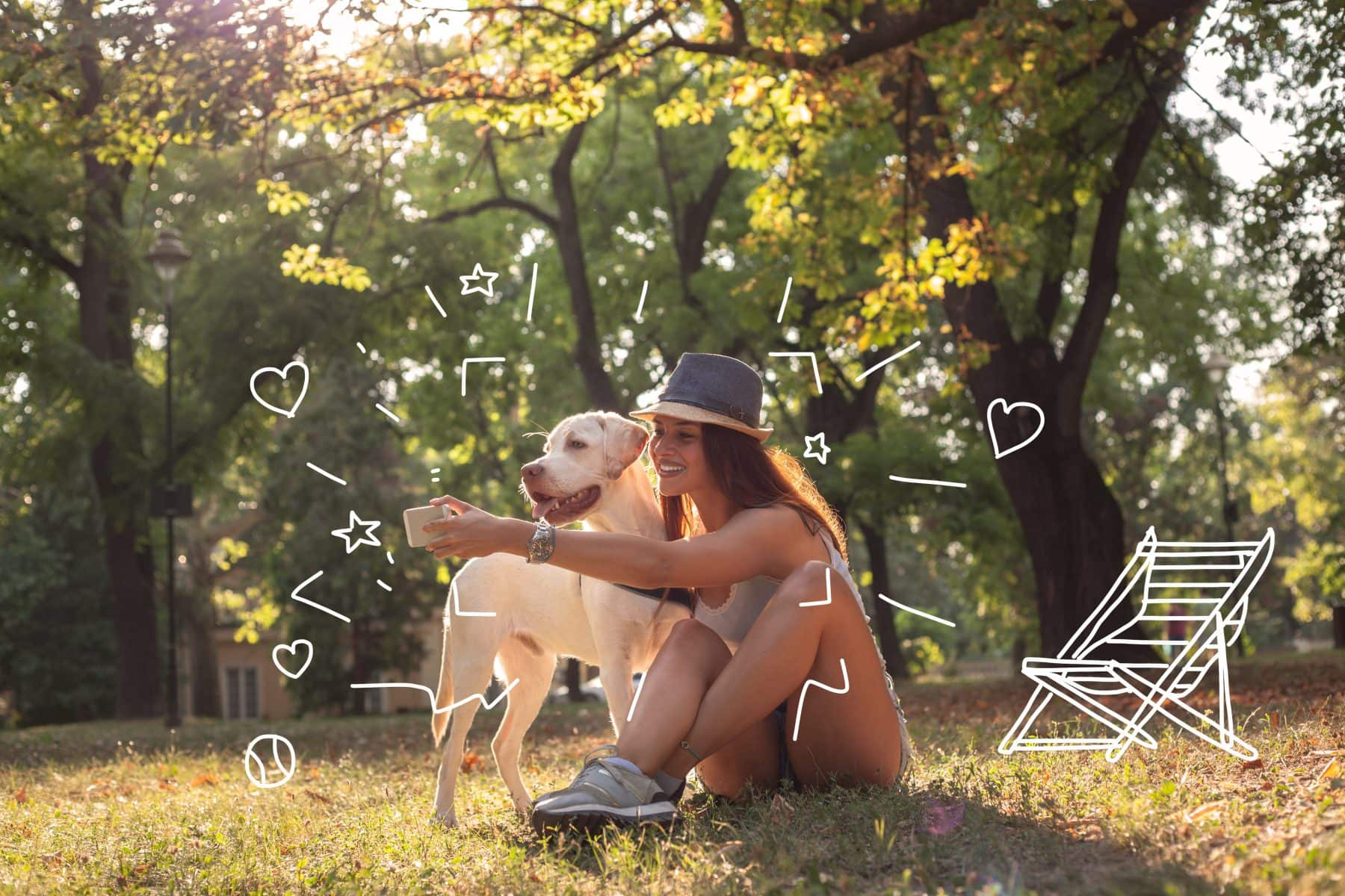 Labradors - Selfie time! A lady takes a selfie with her dog.