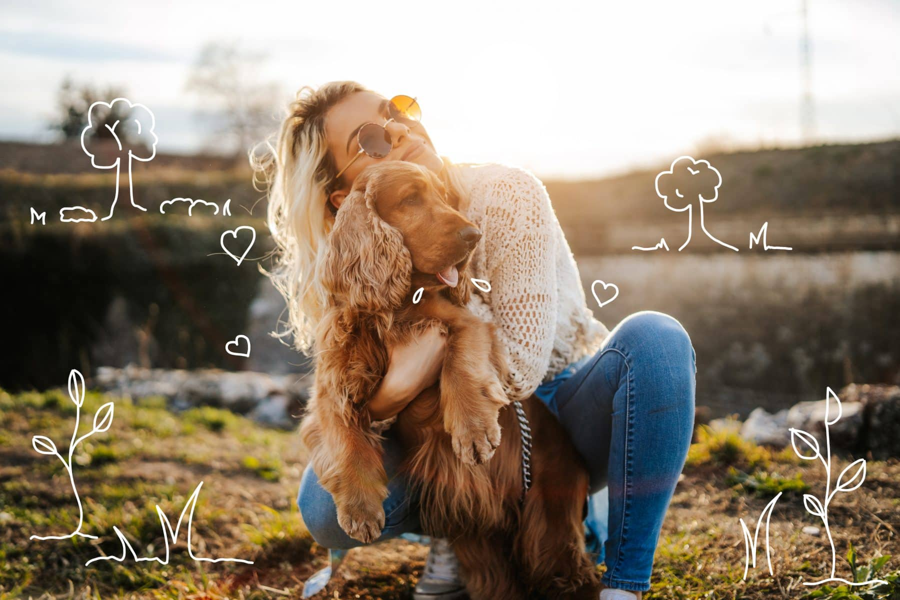 Dog grooming tips - how to groom your dog. A woman cuddles a spaniel.