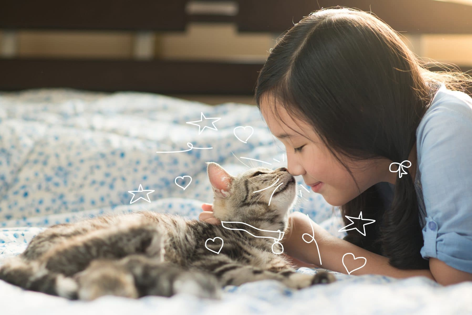 A girl and a cat - coping with thunderstorms