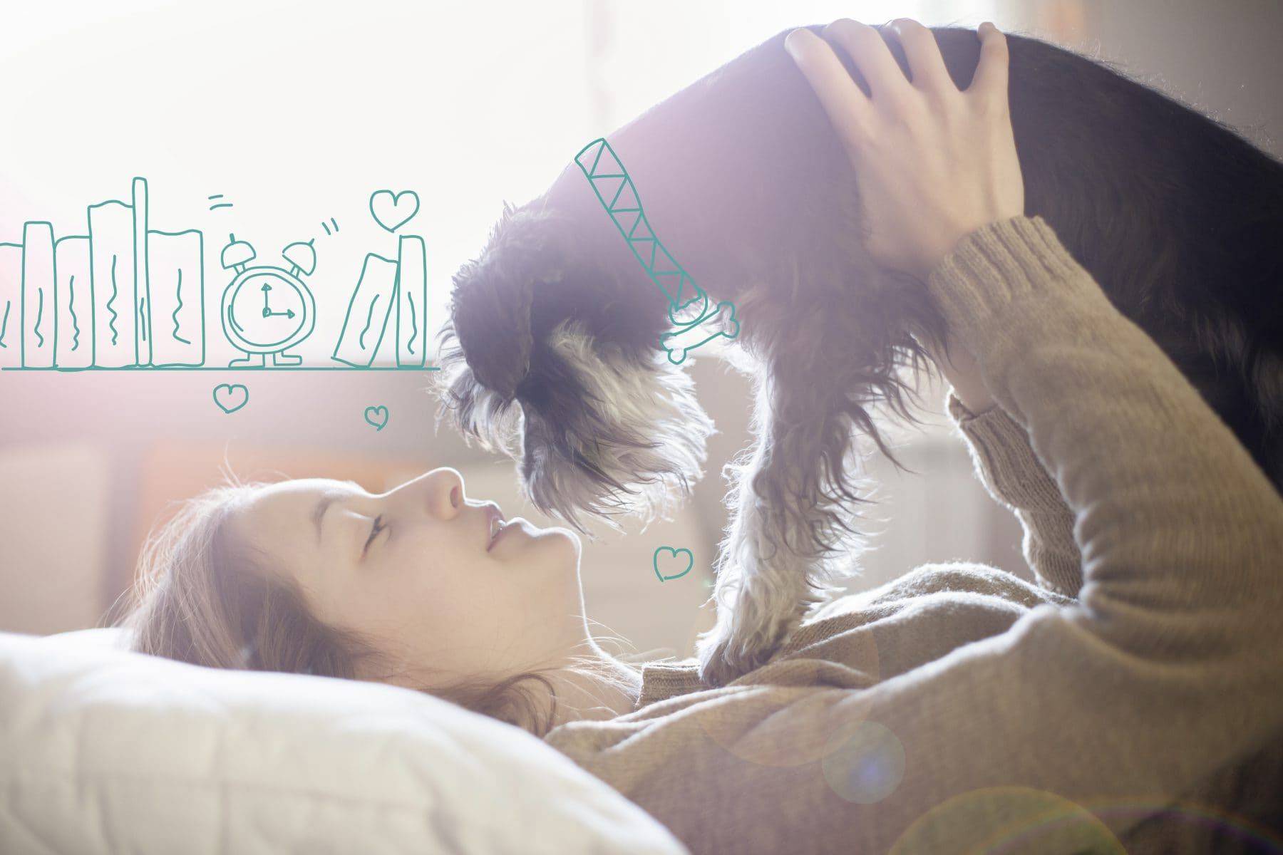 Doga - yoga with dogs. A lady cuddles her dog.