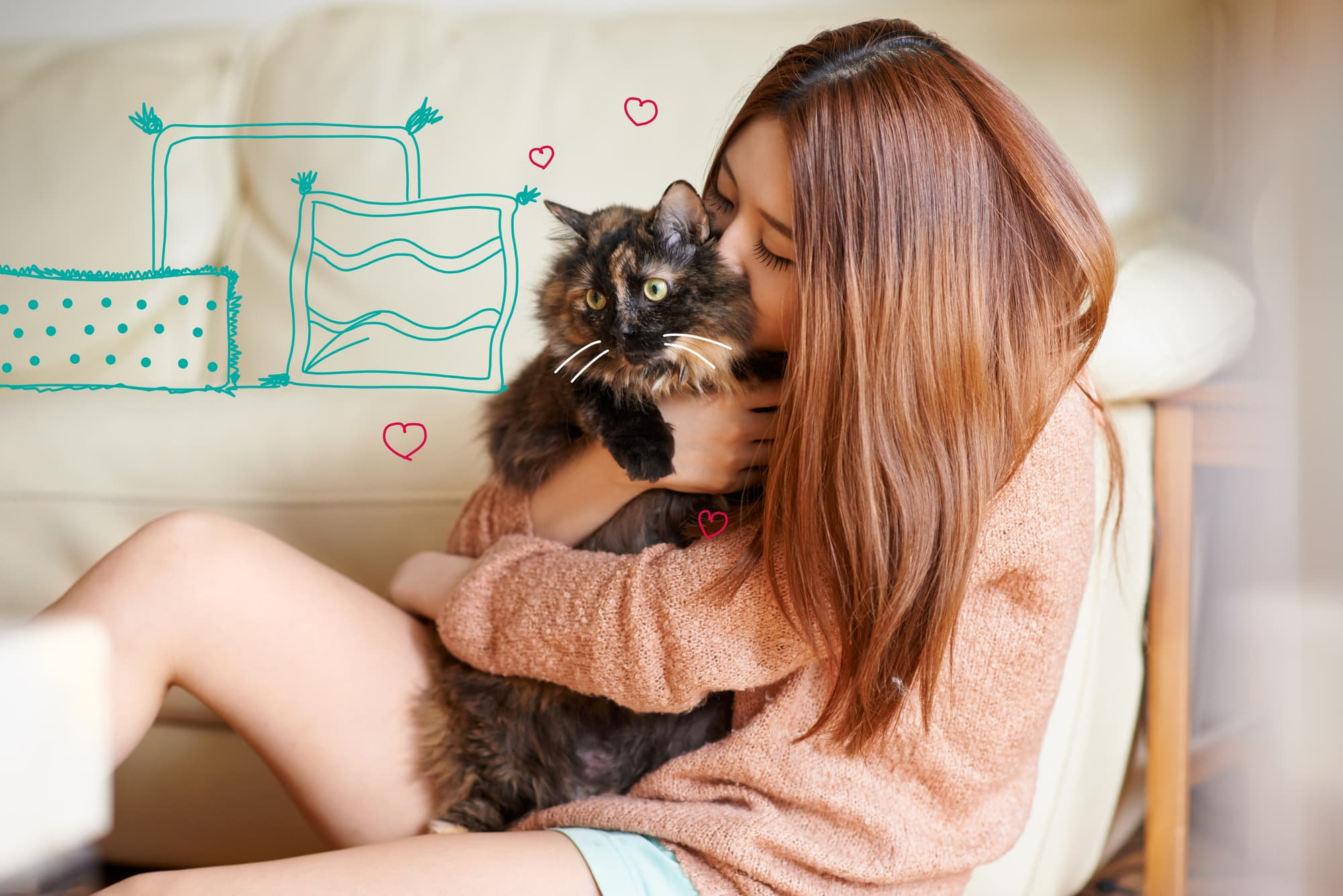 Flea treatments for cats - A lady cuddles her cat.