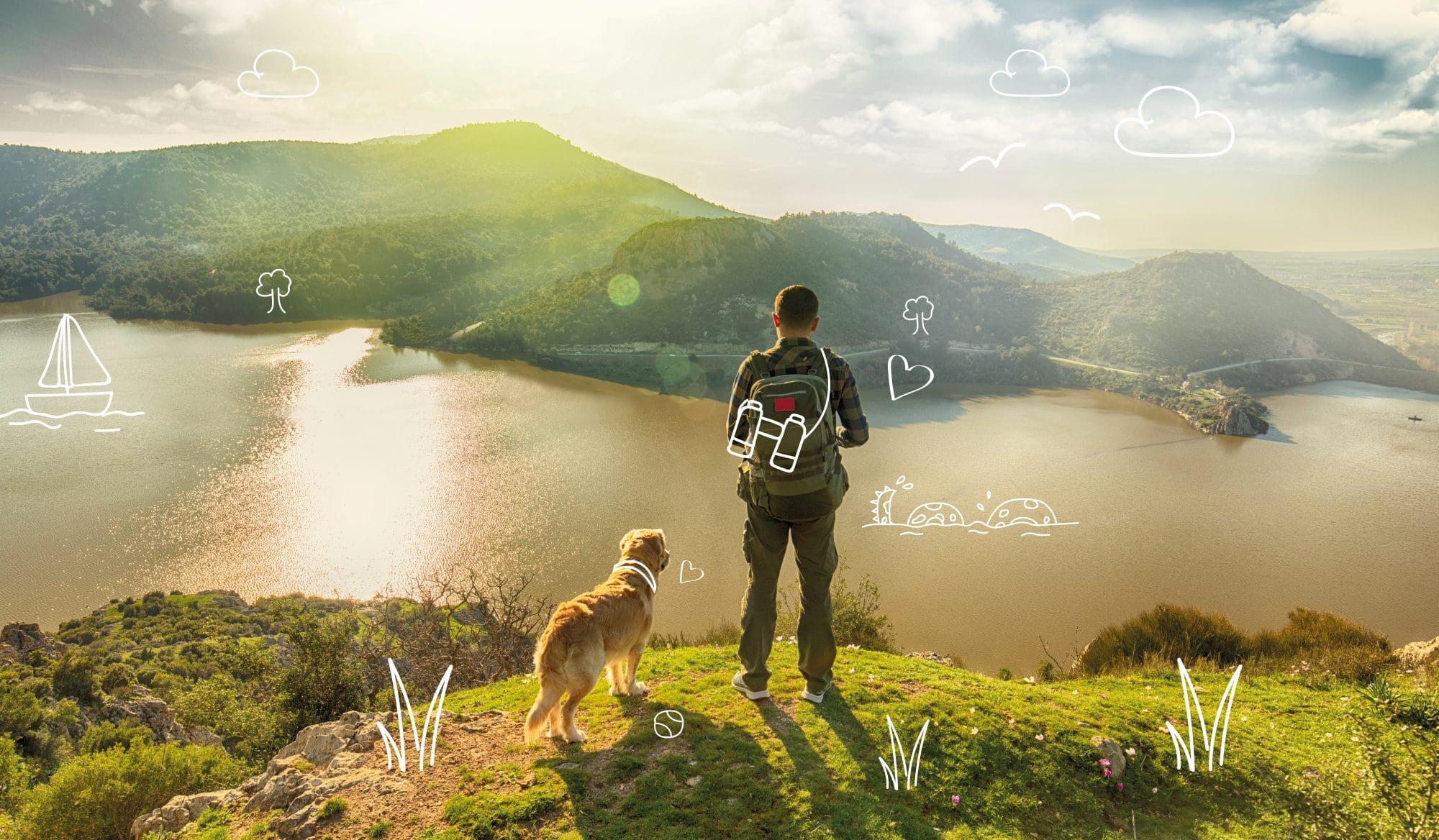 Top ten dog names 2019. A man and a dog enjoy a walk in the hills.
