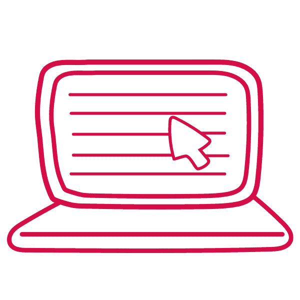 A red computer graphic - get a pet insurance quote online in minutes