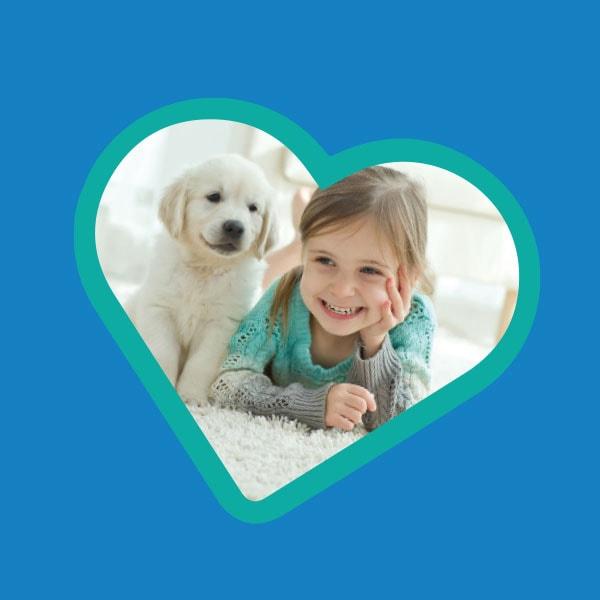 Girl with a cute labrador puppy