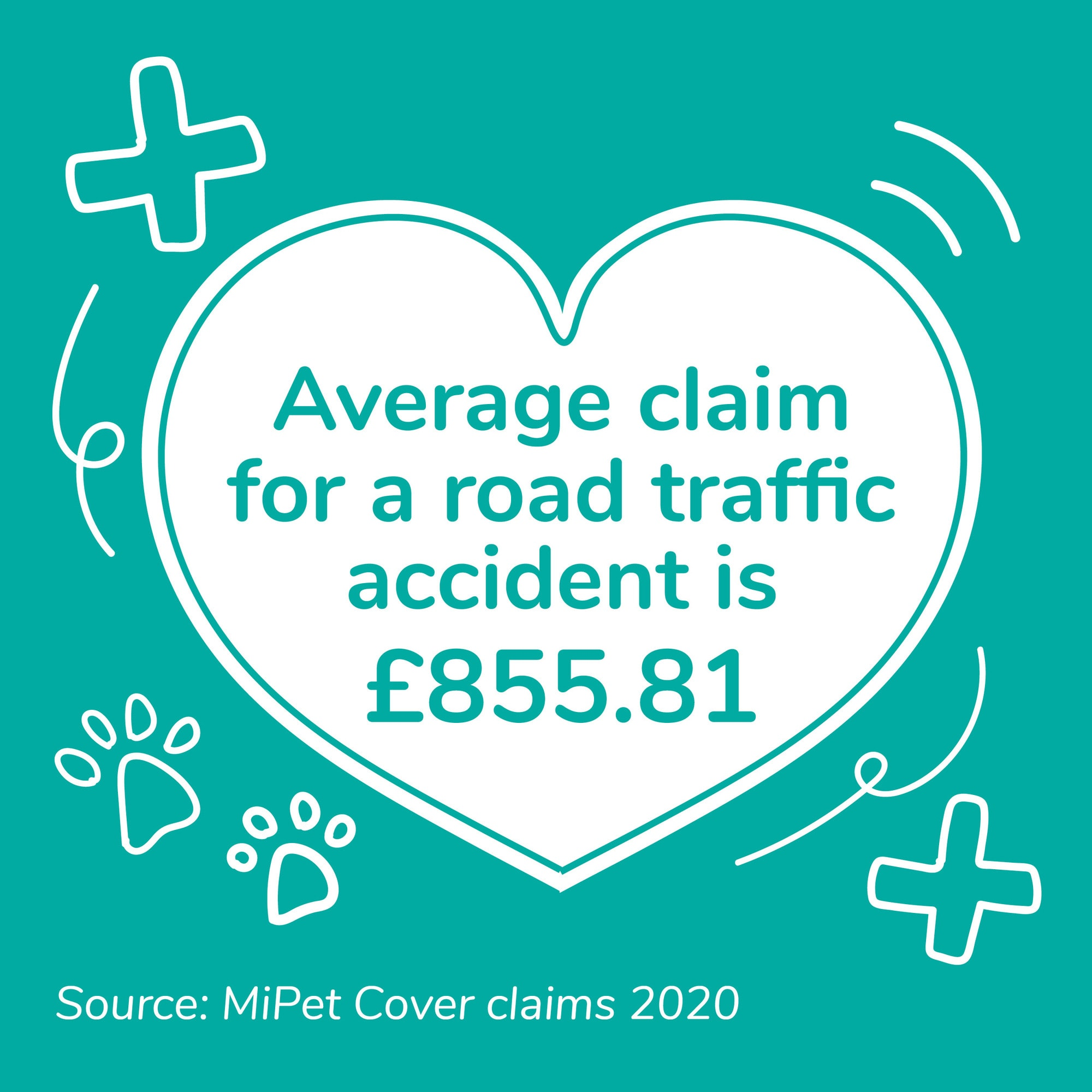 The average road traffic accident pet insurance claim was £855.81 during 2020